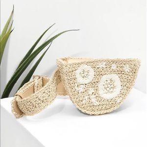 Flower Pattern Straw Bag